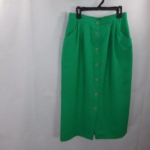Vintage green pencil button down front skirt 7/8